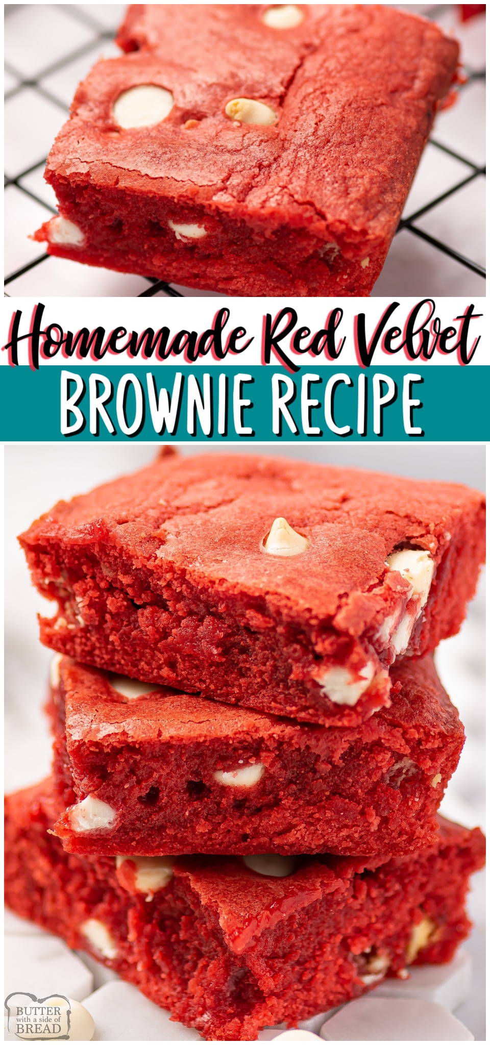 Red velvet brownies are a rich, chocolaty brownie with red velvet color, scattered with chocolate chips. Homemade Red Velvet Brownies perfect for Valentine's day! #redvelvet #brownies #dessert #baking #Valentines #easyrecipe from BUTTER WITH A SIDE OF BREAD