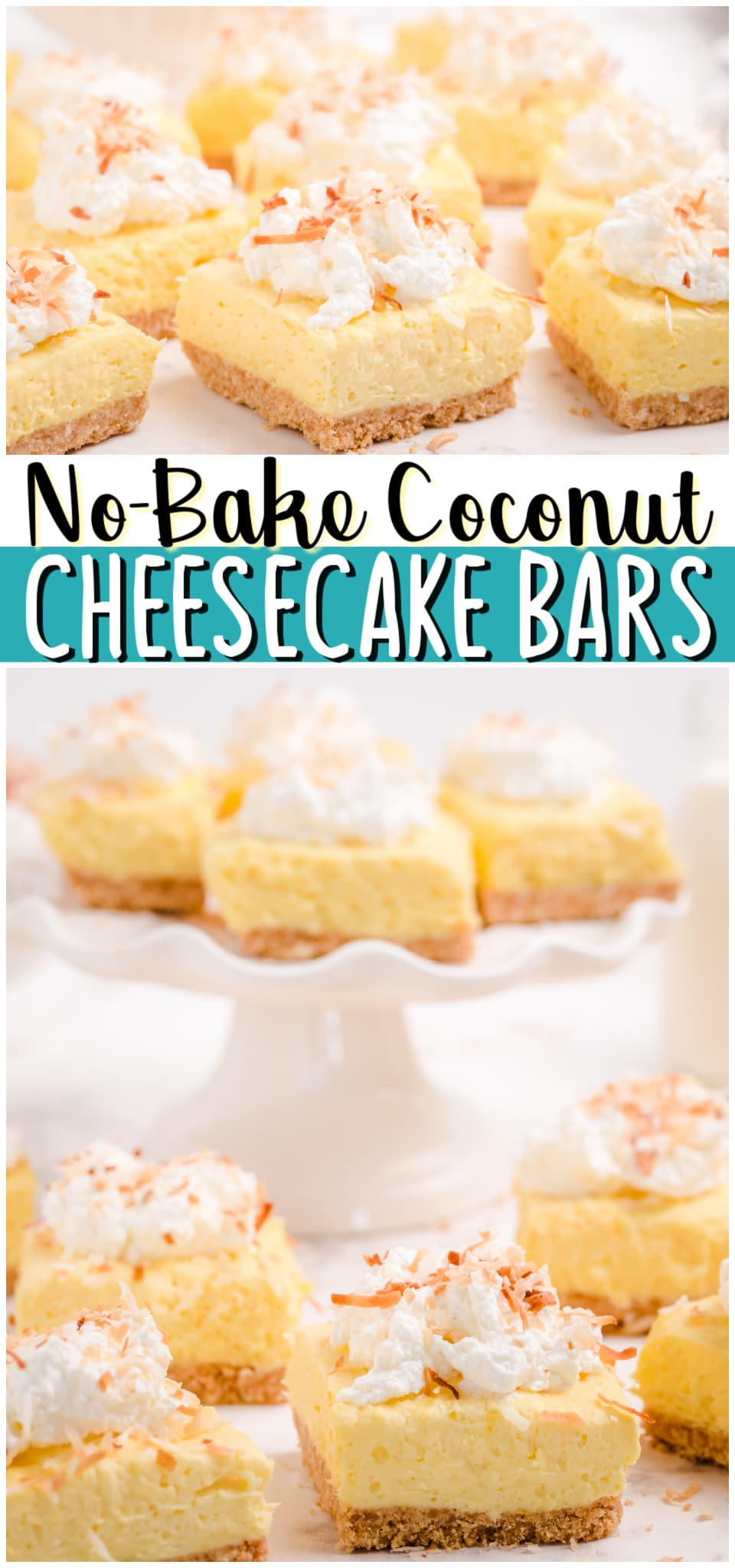 Easy No-Bake Coconut Cheesecake Bars made with just 6 ingredients and so delicious! Coconut Pudding mix, cream cheese and whipped cream unite in this simple no-bake cheesecake recipe. #nobake #coconut #cheesecake #dessert #easyrecipe from BUTTER WITH A SIDE OF BREAD
