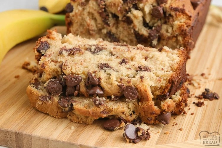 Quick bread made with bananas and peanut butter