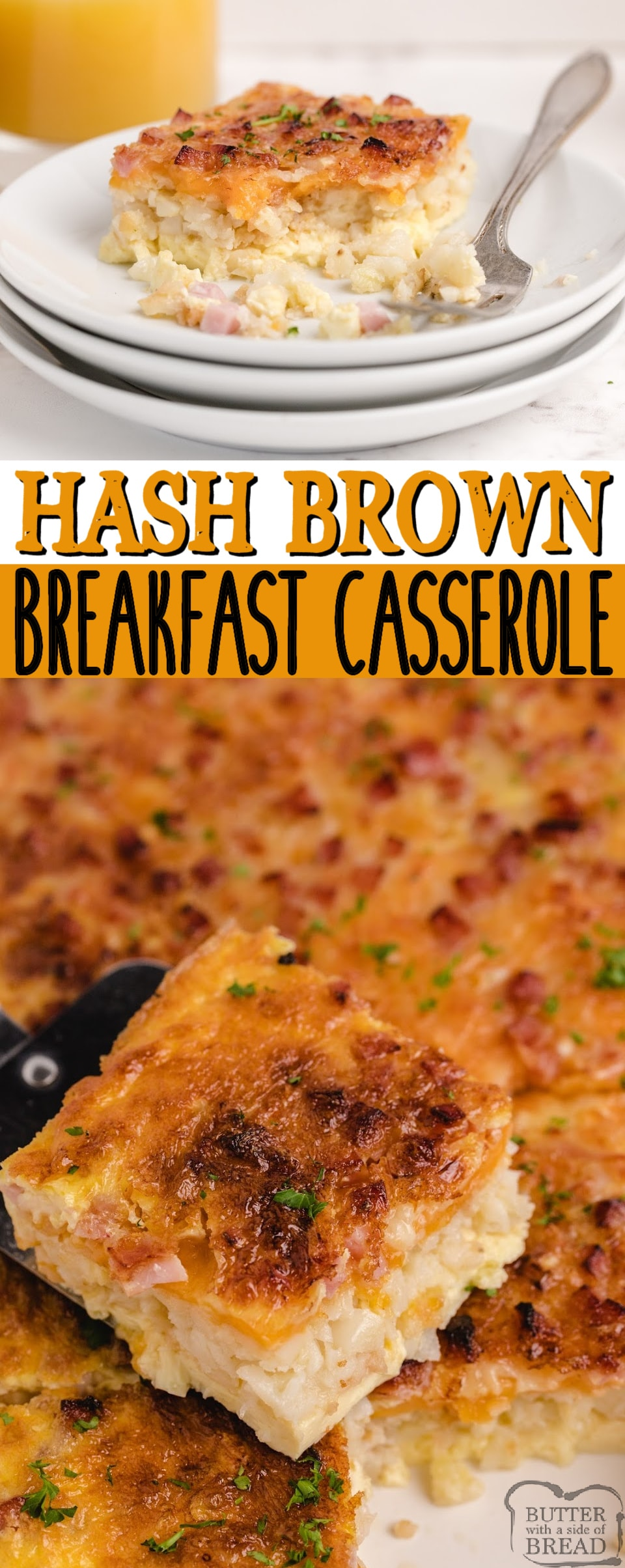 Hash Brown Breakfast Casserole made with a hash brown patty crust, ham, swiss cheese, cheddar cheese, eggs and milk. Only a few minutes of preparation for this easy breakfast casserole recipe!