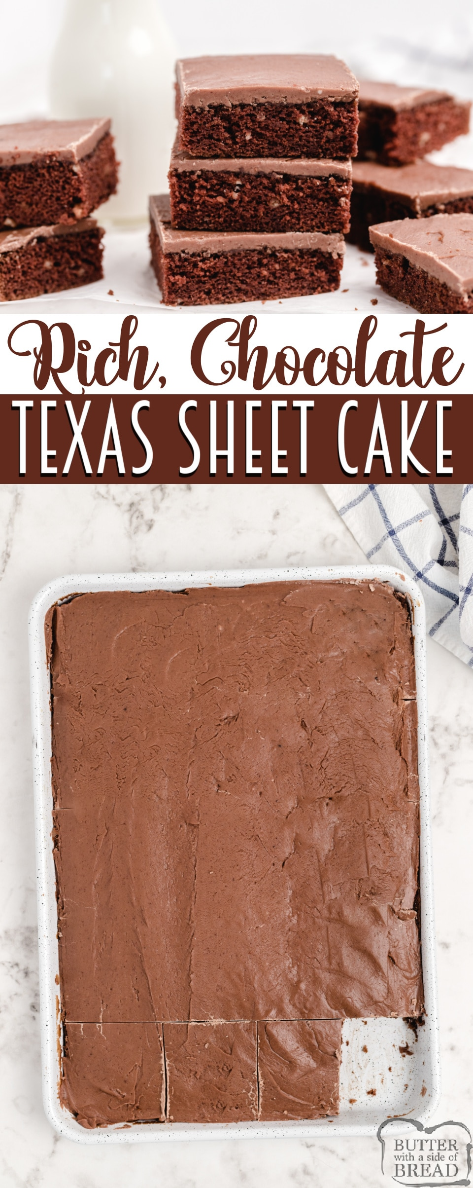 Texas Sheet Cake is the perfect chocolate cake recipe made from scratch. Delicious chocolate cake made in a jelly roll pan and topped with a warm, homemade chocolate frosting.