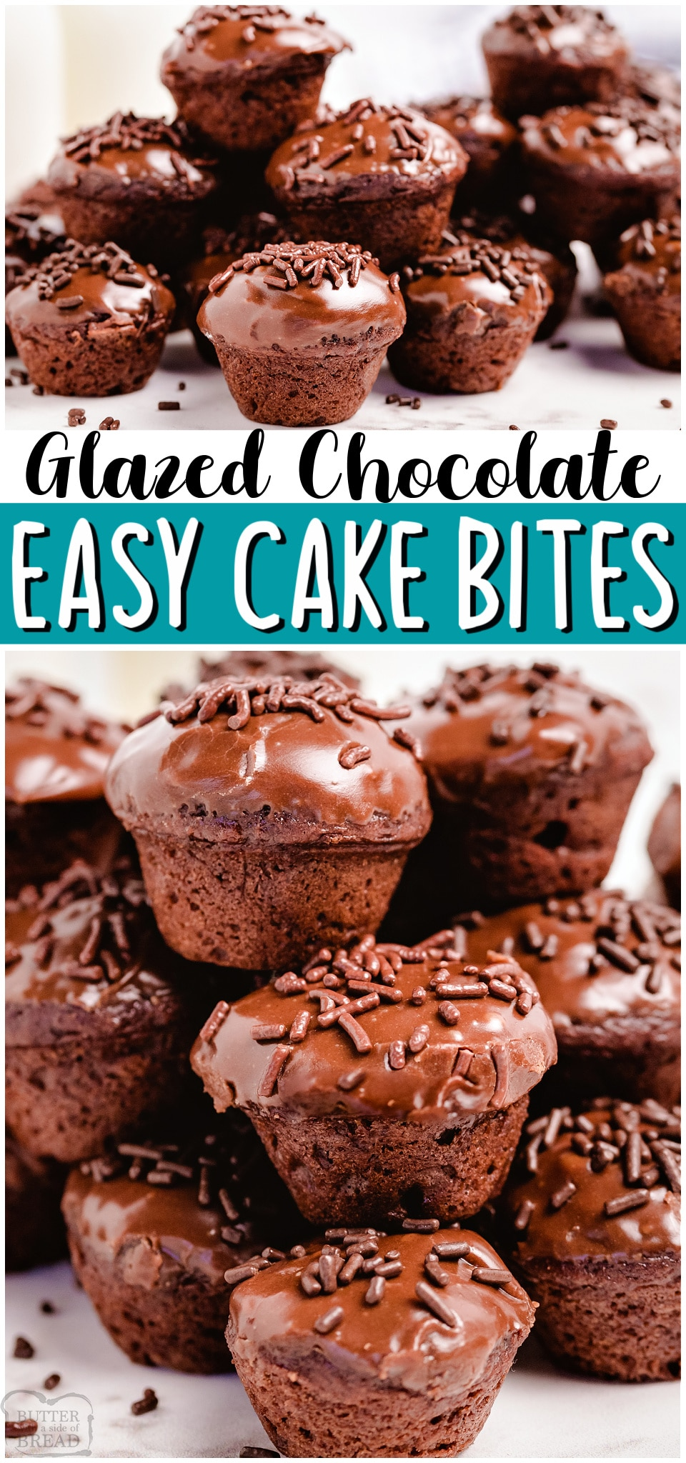 Easy Chocolate Cake Bites are simple, bite-sized chocolate cupcakes that are so easy to make! Super cute & beyond tasty, these mini chocolate cupcakes are always a hit. #chocolate #cake #cupcakes #cakebites #baking #dessert #easyrecipe from BUTTER WITH A SIDE OF BREAD