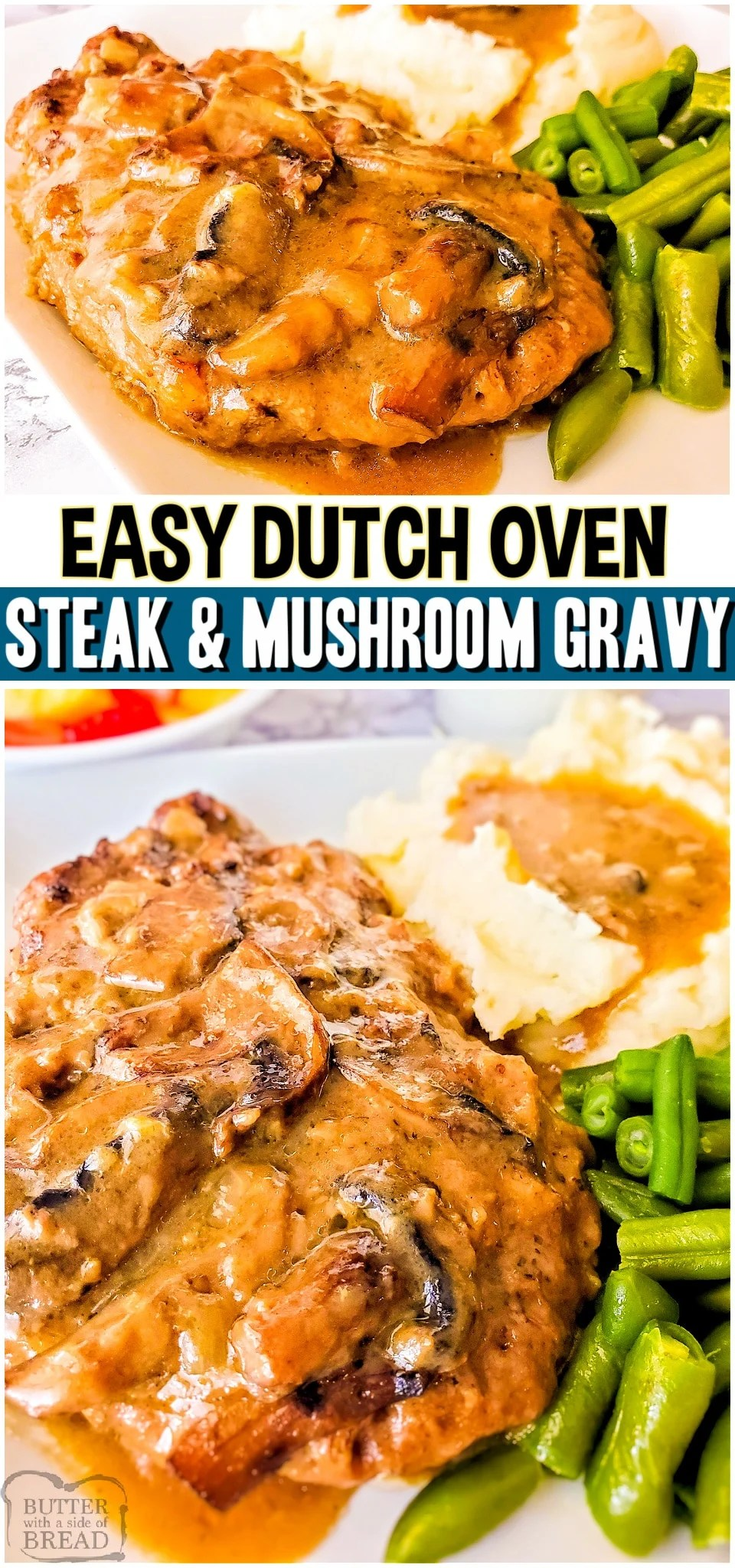 Dutch Oven Cube Steak & Gravy is a flavorful, tender cube steak recipe made with simple ingredients. Serve it up with mashed potatoes for a delicious & comforting dinner recipe. #steak #beef #dutchoven #cubesteak #gravy #dinner #easyrecipe from BUTTER WITH A SIDE OF BREAD