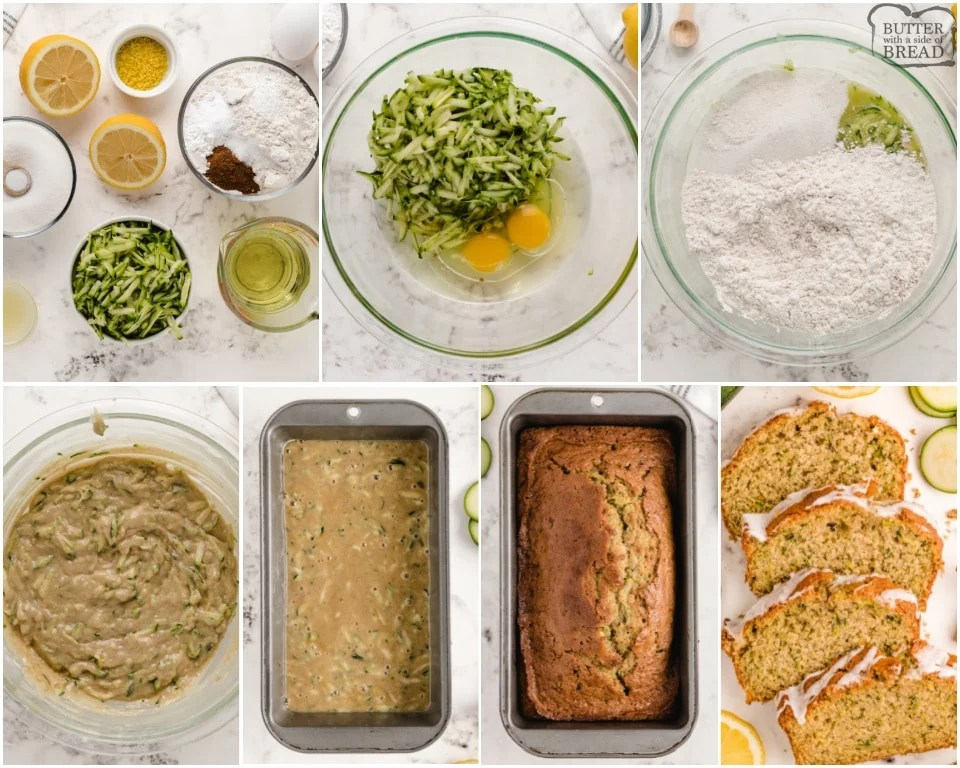 step by step photos for how to make lemon zucchini bread