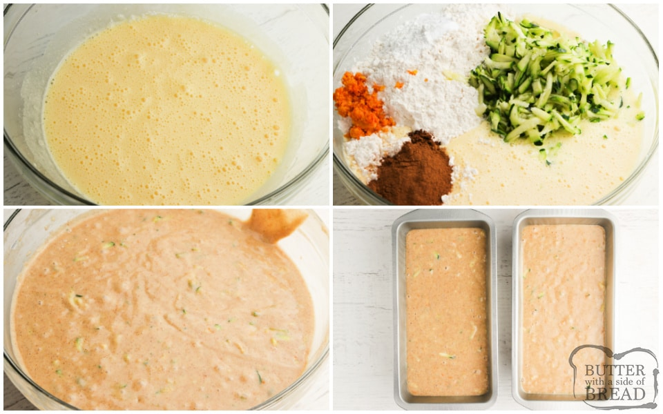Step by step instructions on how to make Orange Zucchini Bread