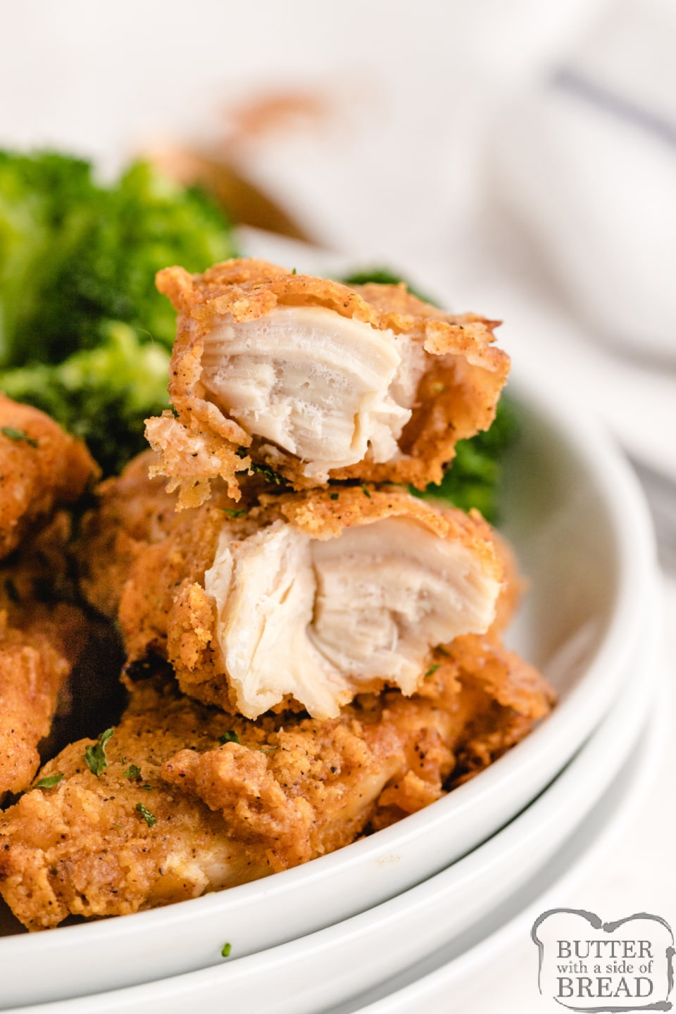 """Oven Baked """"Fried"""" Chicken made with chicken tenders hand breaded in a simple coating and then baked in the oven. Tastes just like fried chicken without frying in oil!"""