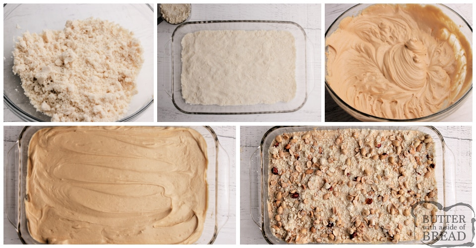 Step by step instructions on how to make peanut butter cheesecake bars