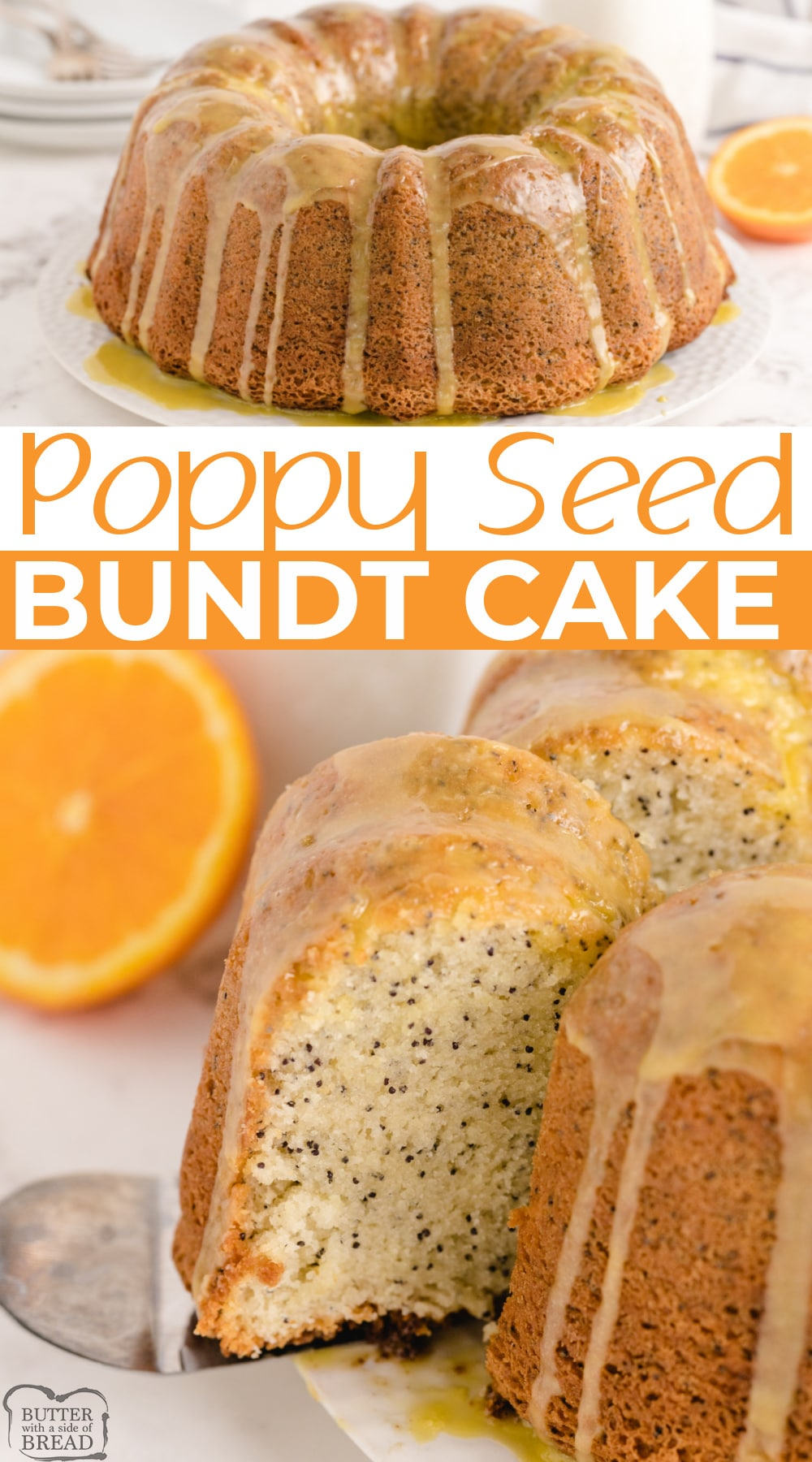 Poppy Seed Bundt Cake made from scratch with a delicious orange flavored glaze. Perfect cake recipe for breakfast, dessert or even a snack!
