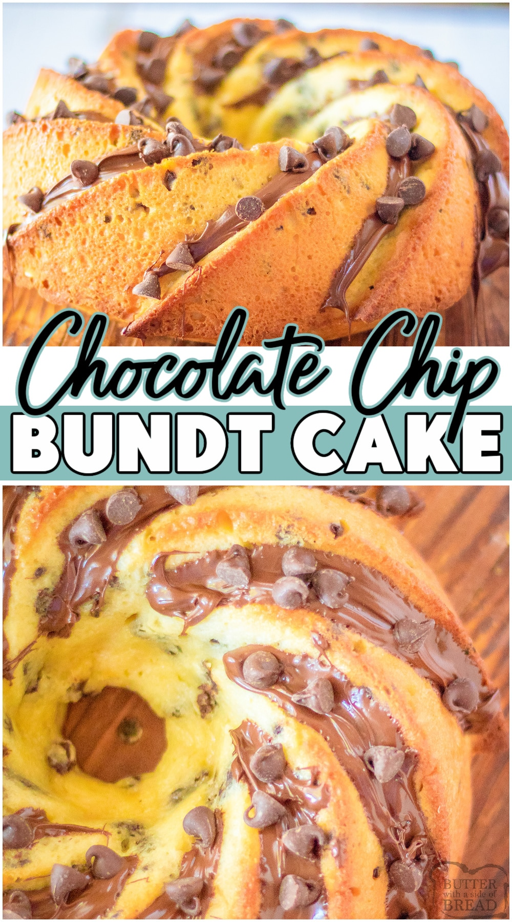 Fantastic Chocolate Chip Bundt Cake with a moist, tender crumb & incredible chocolate flavor! Homemade Bundt Cake recipe packed with chocolate chips inside and on top of the cake, perfect for anyone who loves chocolate. #bundt #cake #chocolate #chocolatechip #baking #easyrecipe #dessert from BUTTER WITH A SIDE OF BREAD