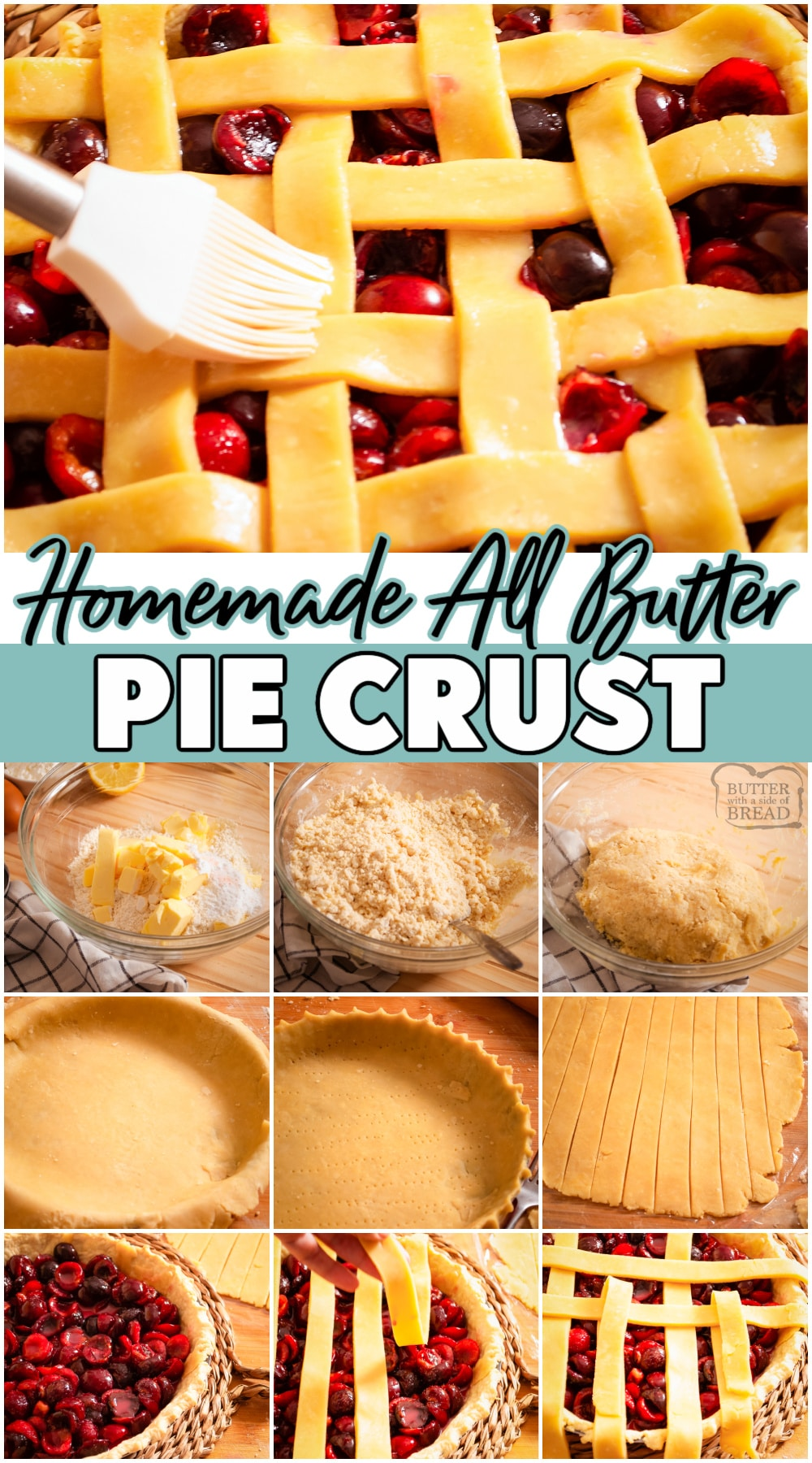 Easy no-knead recipe for the flakiest, homemade all-butter pie crust, perfect to make sweet or savory pies.#pie #piecrust #butter #baking #easyrecipe from BUTTER WITH A SIDE OF BREAD