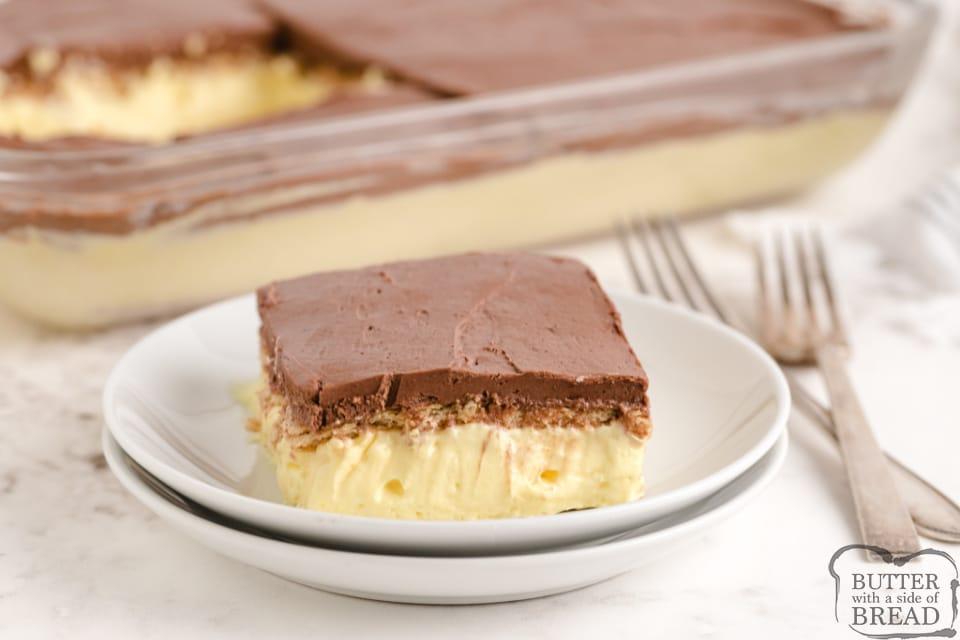 Slice of no bake eclair dessert