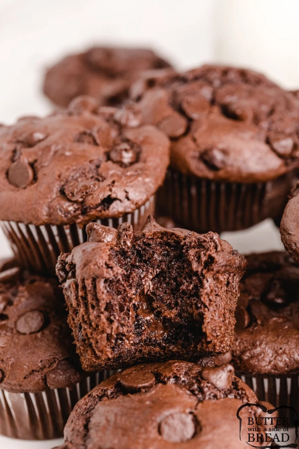 Chocolate chocolate chip muffin recipe made with cake mix and pudding