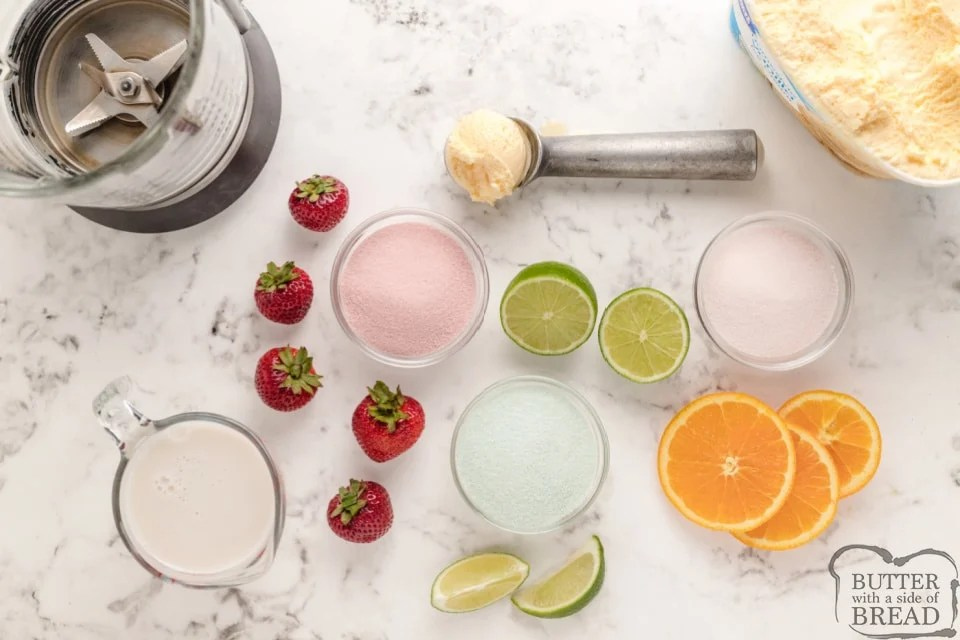 Ingredients in Jello milkshakes