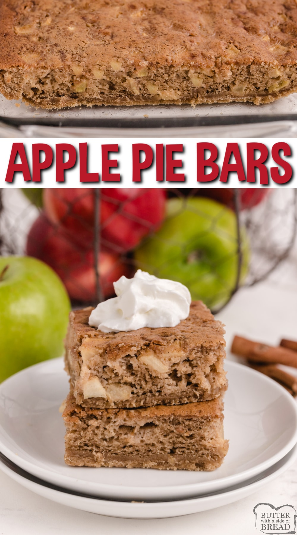 Sour Cream Apple Pie Bars are almost like a pie, almost like a cookie, but absolutely delicious! Made with fresh apples, sour cream and a few other basic ingredients, this just might be your new favorite apple dessert!