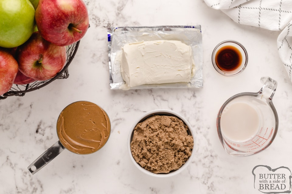 Ingredients in cream cheese peanut butter dip for apples