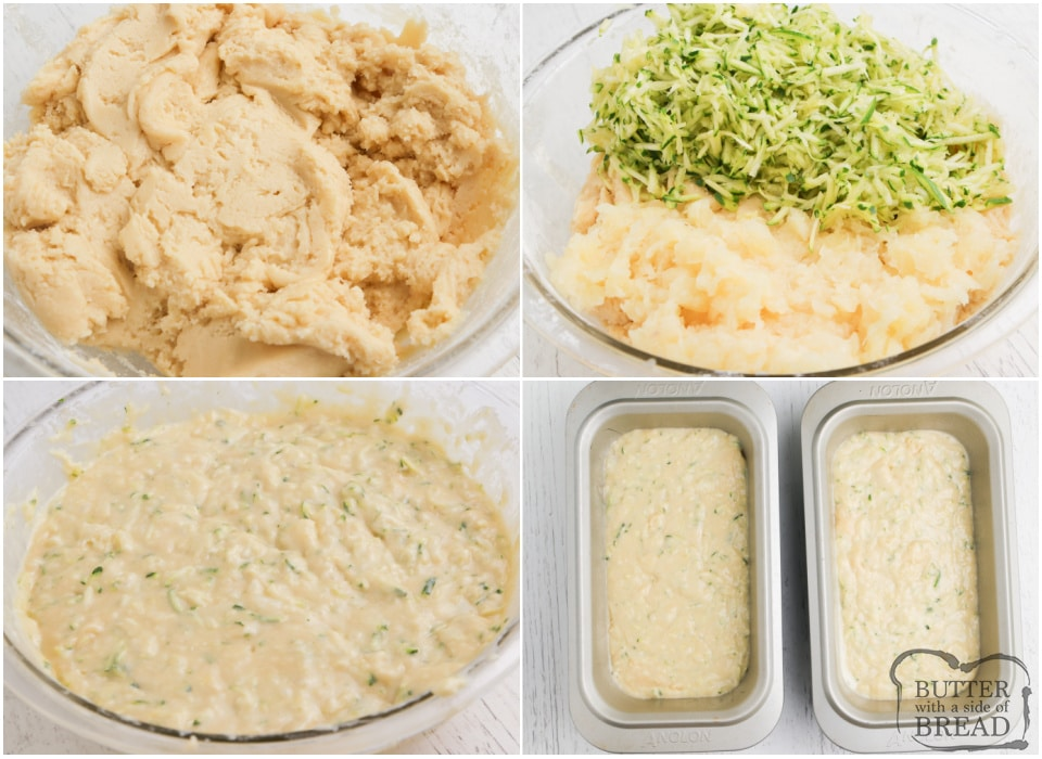 Step by step instructions on how to make Pineapple Zucchini Bread