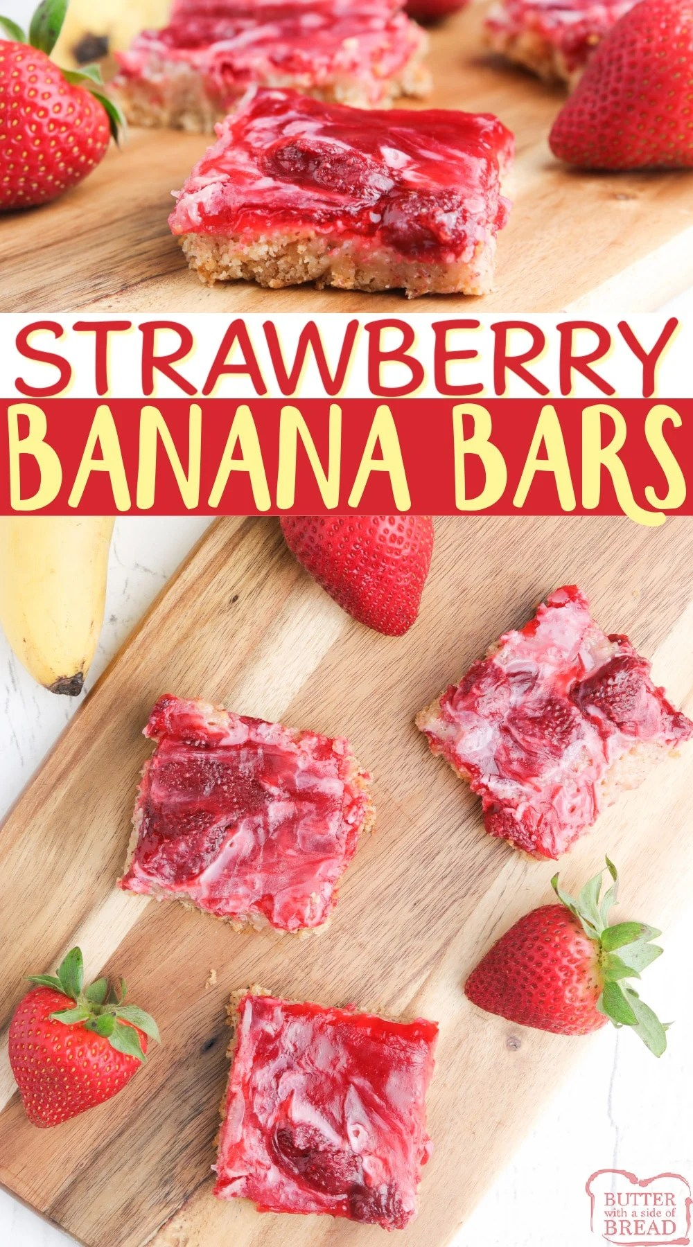 Strawberry Banana Bars made with a banana bread or muffin mix, strawberry pie filling and just three other basic ingredients. Easy banana recipe that is perfect for a snack or dessert!
