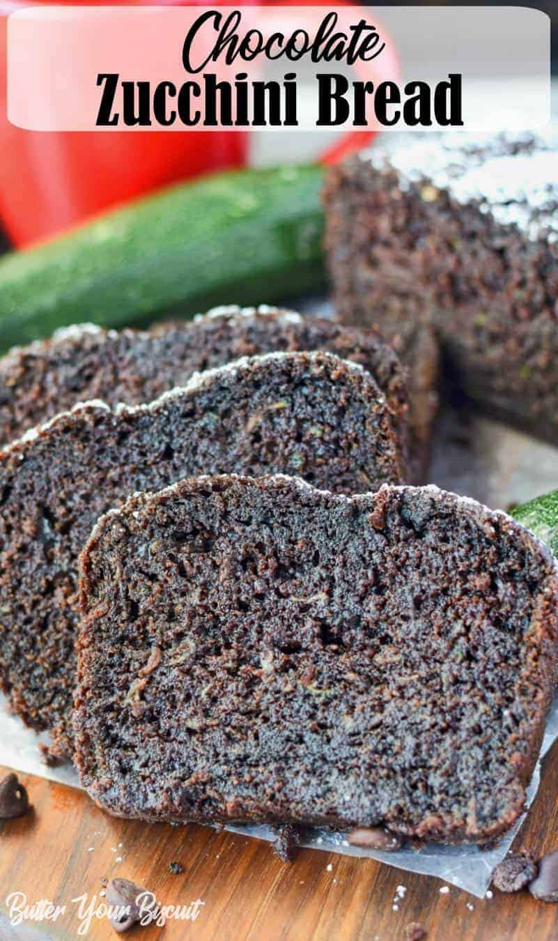 This chocolate zucchini bread recipe is rich and moist, made with cocoa and chocolate chips throughout. Nobody would ever know there is zucchini in it. #zucchini #zucchinibread #chocolatecake #easydessert #snackcake