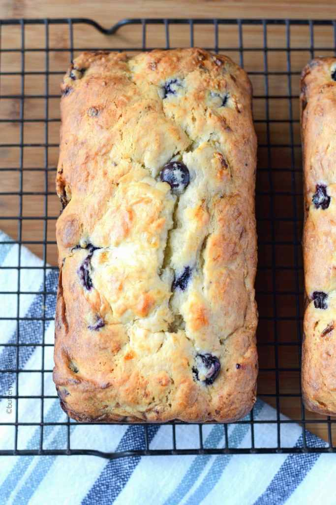 Banana Blueberry cream cheese bread on a cooling rack