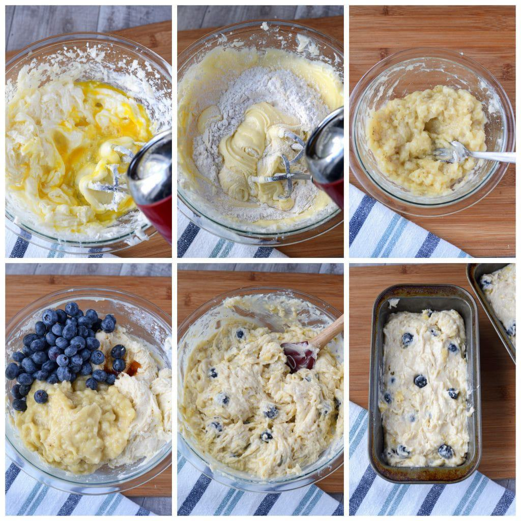 Banana blueberry cream cheese bread mixing steps