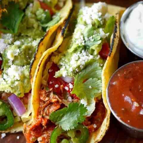 Slow Cooker Salsa Chicken Tacos