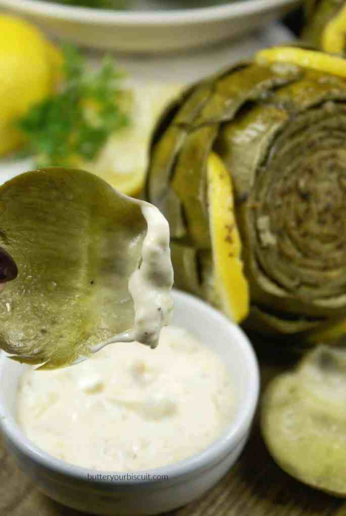 Lemon Garlic Steamed Artichokes