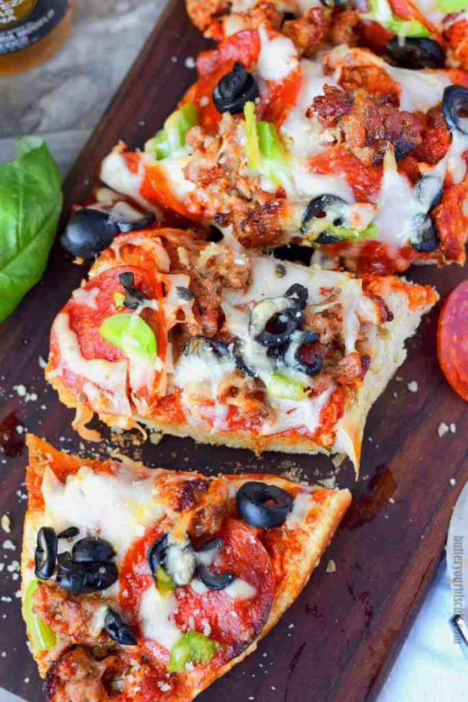 Grilled French Bread Pizza Supreme