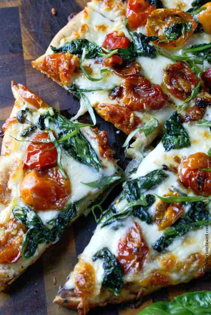 Garlic Roasted Tomato and Spinach Flatbread