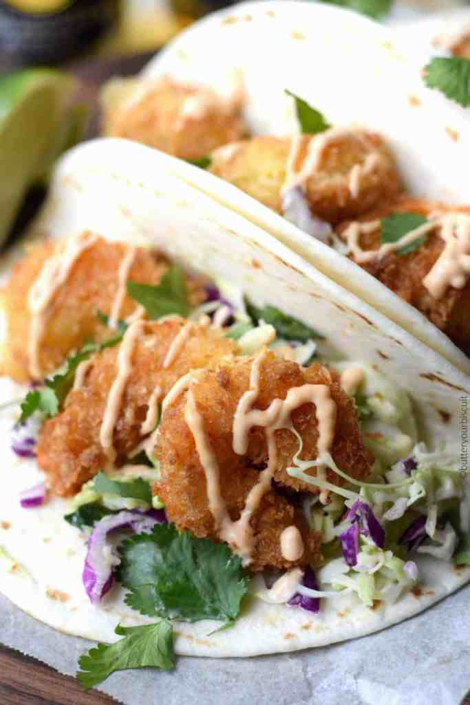 Crispy Shrimp Tacos with Cilantro Lime Slaw and Sriracha Sauce