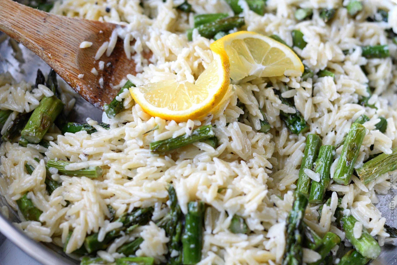 Lemon Garlic Parmesan Orzo With Roasted Asparagus