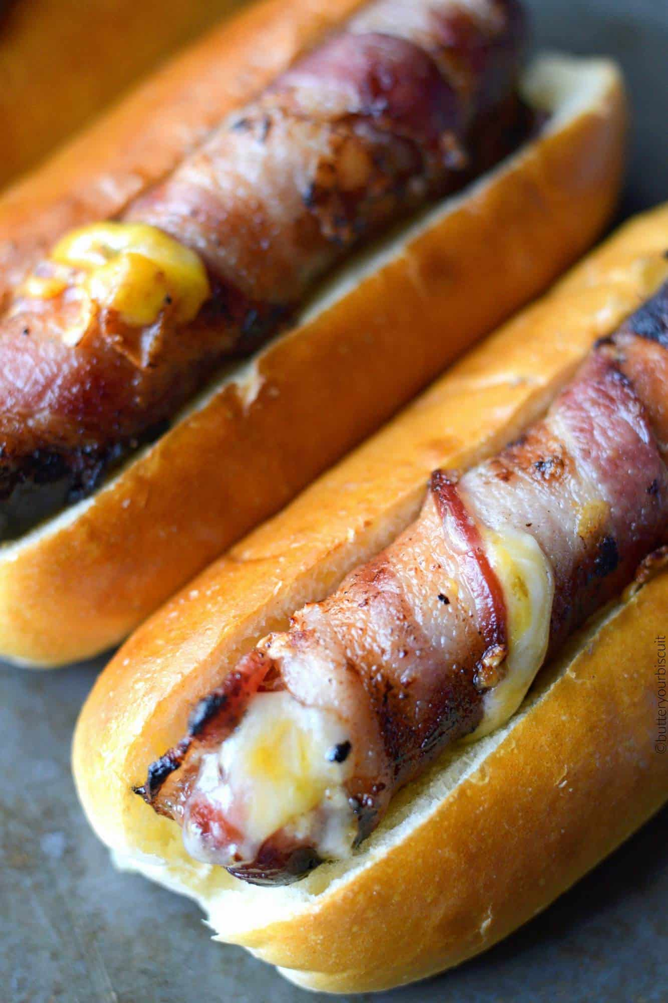 Bacon wrapped cheese stuffed hot dogs