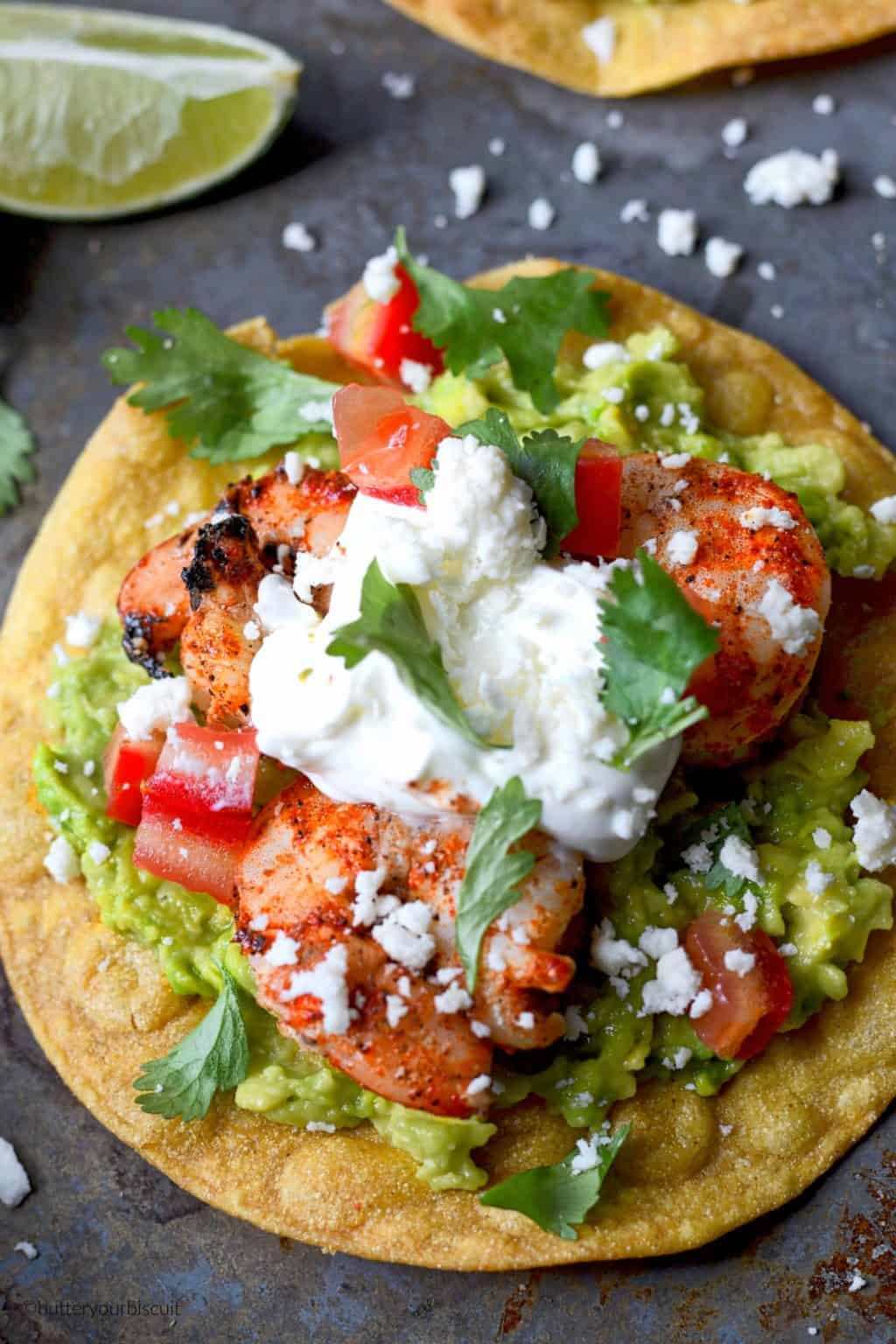 Cajun shrimp avocado tostadas