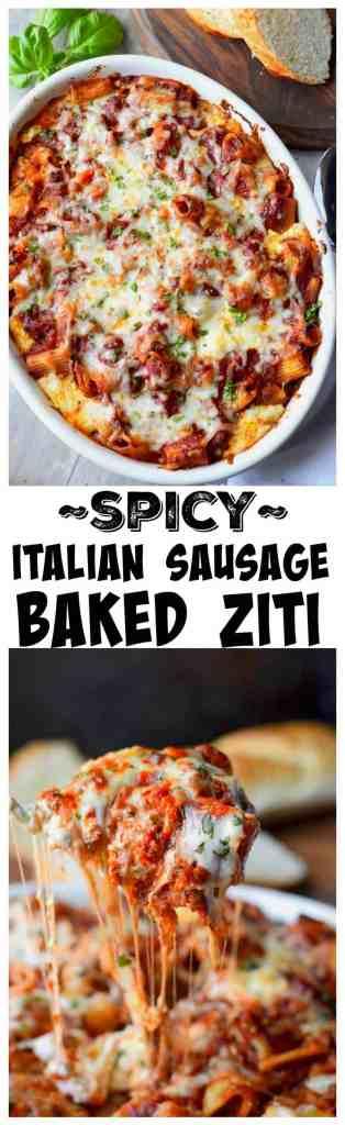 Spicy Italian Sausage Baked Ziti