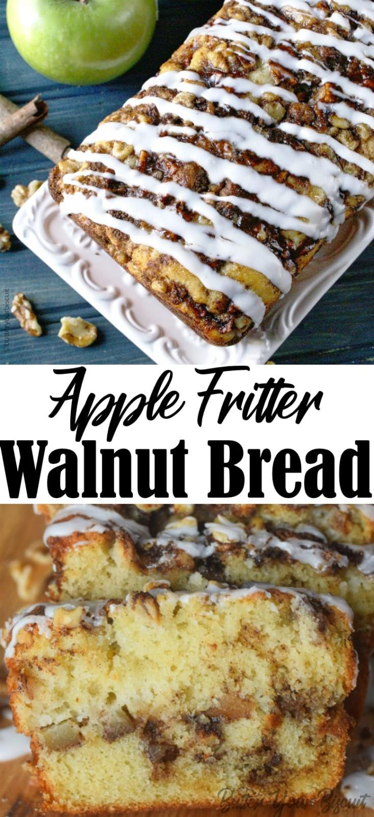This Apple Walnut Fritter Bread is insanely delicious loaded with apples and swirls of cinnamon.