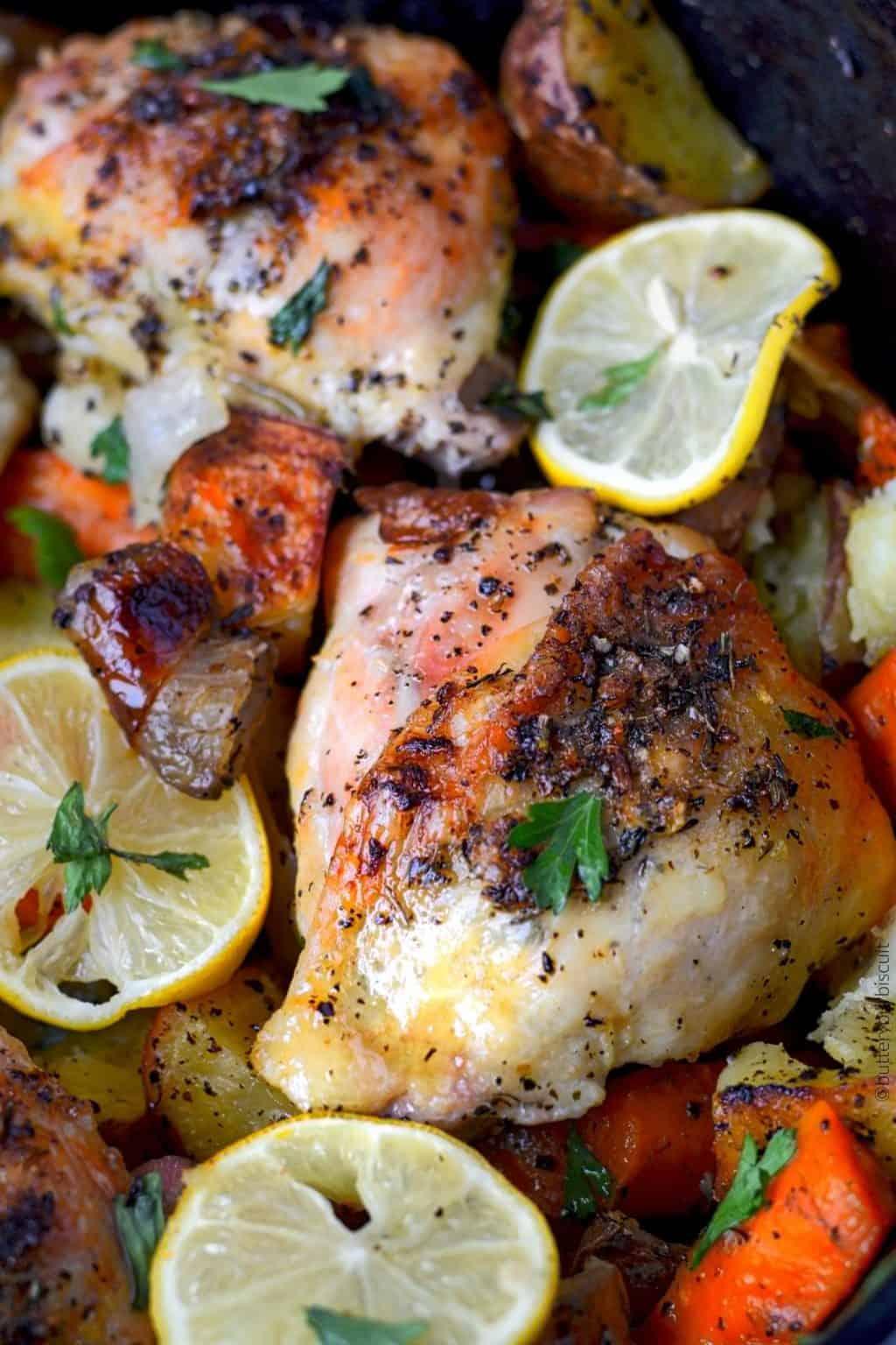 lemon garlic herb roasted chicken and potatoes
