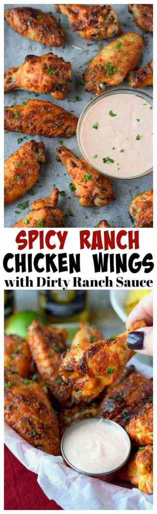 Spicy ranch chicken wings with dirty ranch sauce