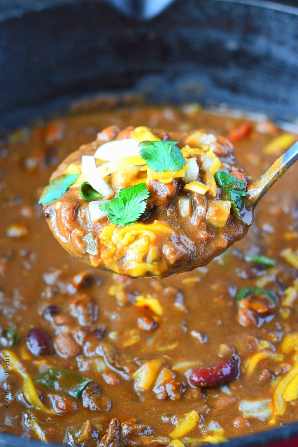 Ribeye steak chili in a pot with a ladle