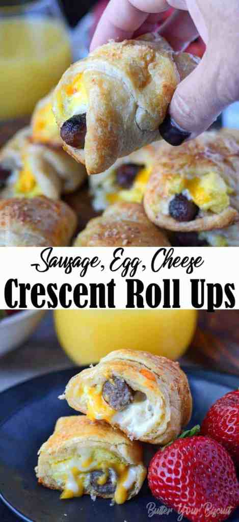 sausage egg cheese breakfast croissant roll up
