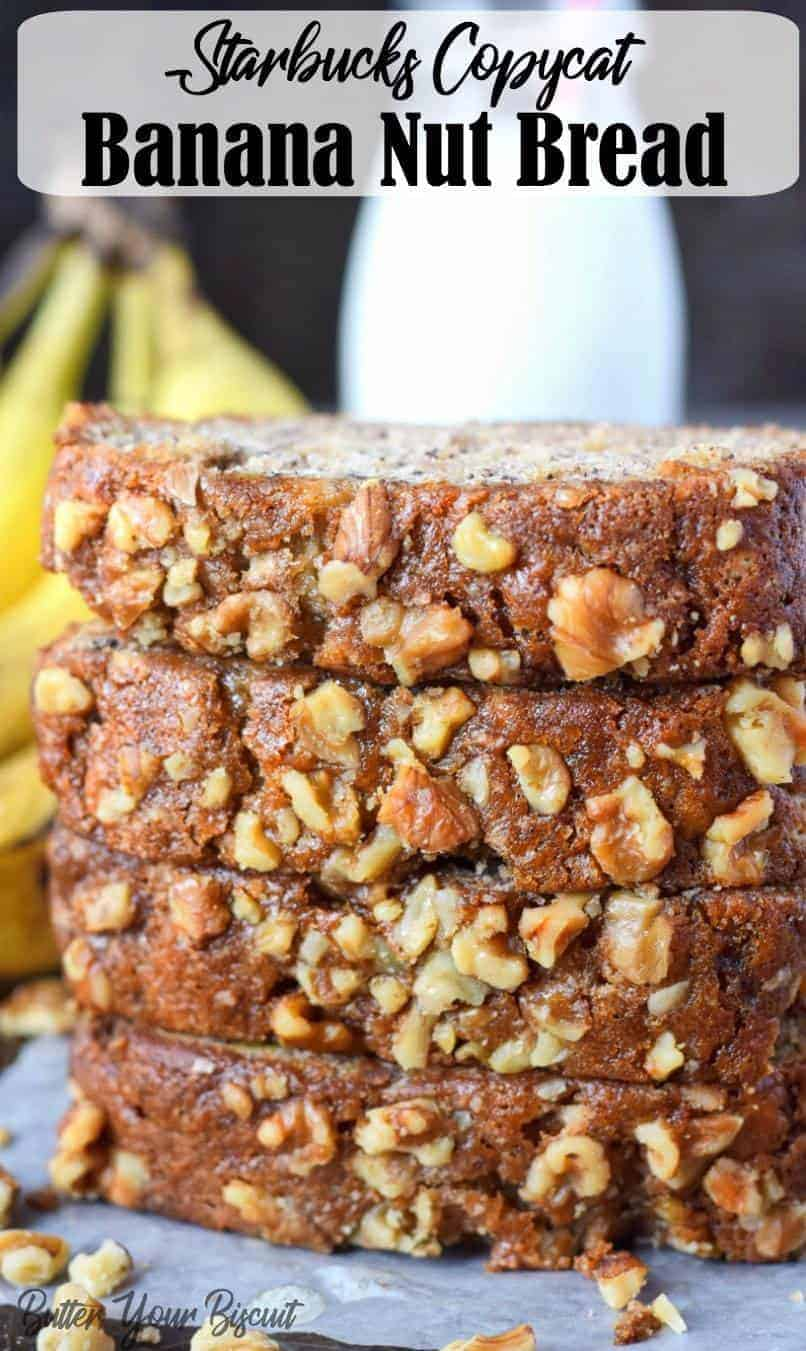 Banana bread is one of my all time favorites! This recipe is moist, and loaded with banana sweetness and topped off with crunchy walnuts. #bananabread #banananutbread
