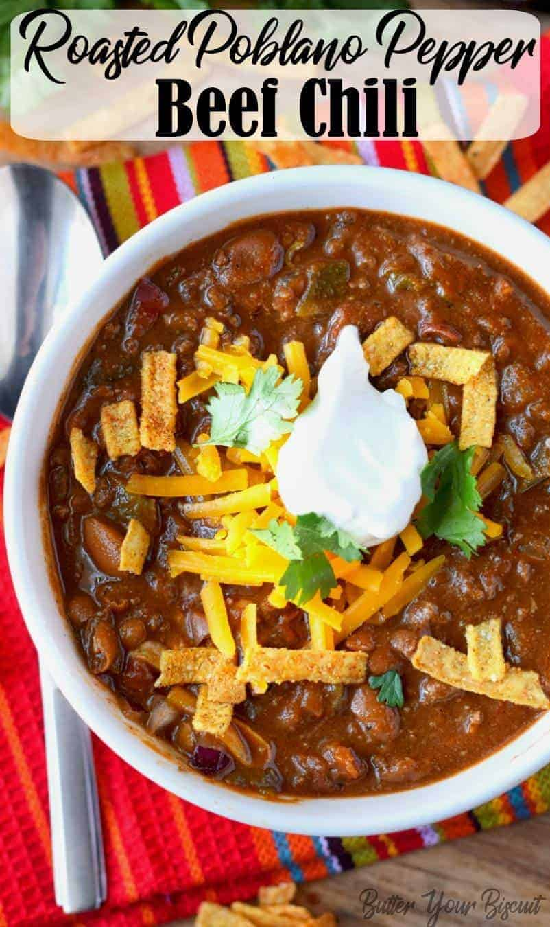 This poblano pepper beef chili will rock your world. Thick and delicious and the smoky peppers mix perfectly with the tomato and beef flavors. #chili #poblanopeppers #beefchili #comfortfood