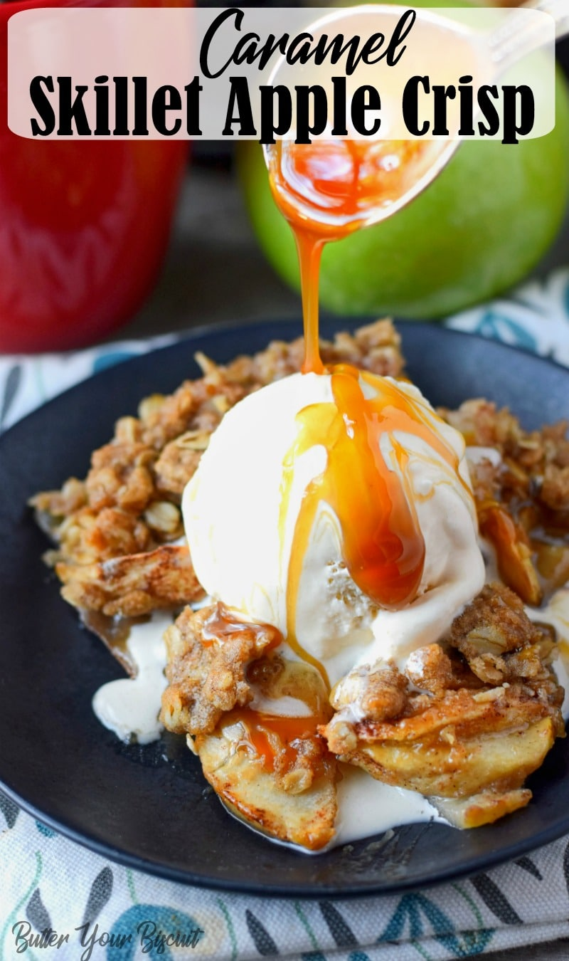 Caramel Skillet Apple Crisp Recipe is the perfect Fall dessert! Warm apples smothered in caramel sauce and topped with the perfect crumble ever! #applecrisp #appledessert #falldessert