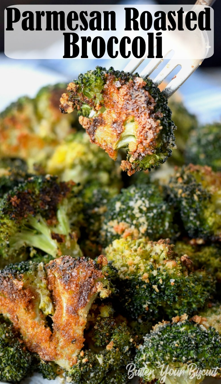 Parmesan Roasted Broccoli is the perfect roasted vegetable. The Parmesan and bread crumbs gives it the best crunchy texture. #roastedbroccoli #roastedvegetables #veggiesidedish
