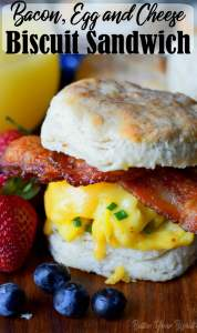 bacon egg and cheese biscuit sandwich pinterest pin