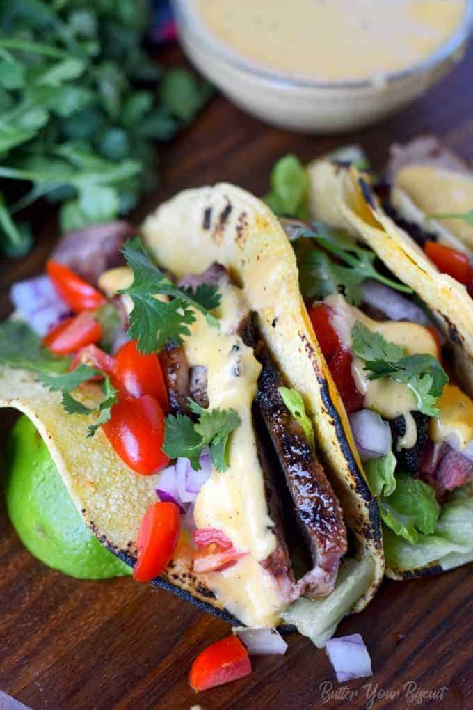 Grilled Steak Tacos with Nacho Cheese Sauce