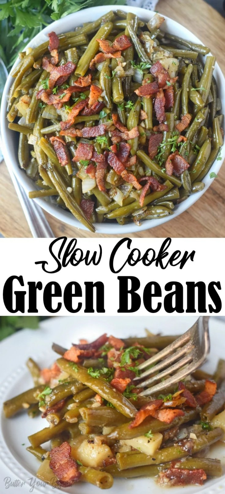 Slow cooker green beans are super easy to make and packed with tons of flavor. The perfect side dish to your family dinner.
