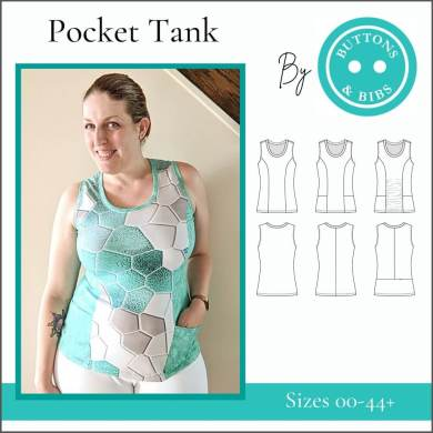 BnB - Pocket Tank - Cover: Image of a tank top with princess seams and side pockets.