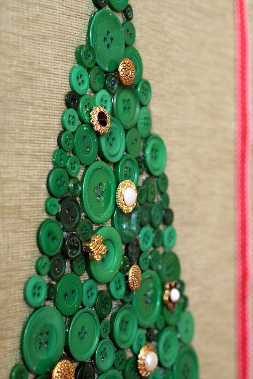 Holiday Decor Christmas Tree Button Collage