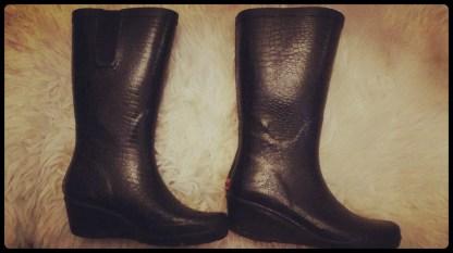 Black faux leather rain boots 1