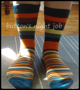 Socks, striped blue toe