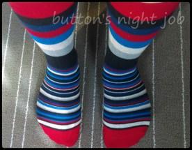 Socks, striped red toe